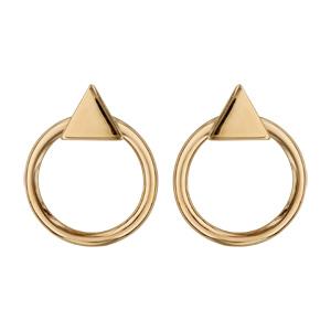 Boucles d'oreilles tige plaqué or 2 éléments triangle et cercle diamètre 15mm