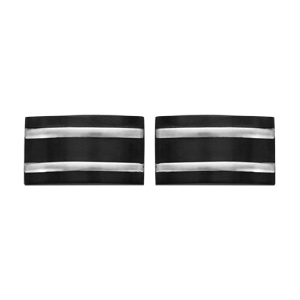 Boutons de manchette en acier et PVD noir - Vue 1