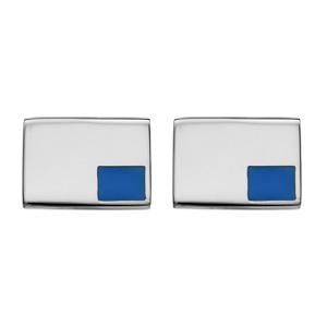 Boutons de manchette en acier petit carré bleu - Vue 1