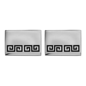 Boutons de manchette en acier rectangulaires motif méandres grecs résine noire - Vue 1