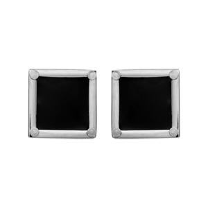 Boutons de manchettes en acier carrés en résine noire avec contours lisses - Vue 1