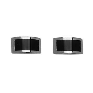 Boutons de manchettes en acier et résine noire rectangle arrondi - Vue 1
