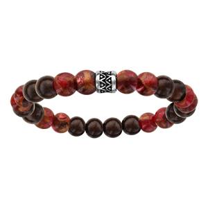 Bracelet acier elastique perles bois et quartz rouge - Vue 1