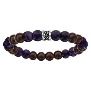 Bracelet acier elastique perles bois et quartz violet - Vue 1