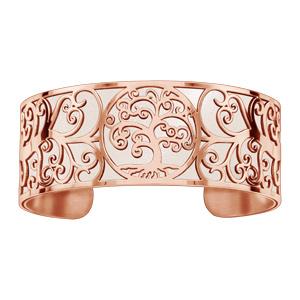 Bracelet acier et PVD rose motif arbre de vie pu simili cuir blanc - Vue 1