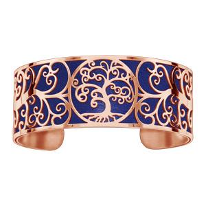 Bracelet acier et PVD rose motif arbre de vie pu simili cuir marine - Vue 1