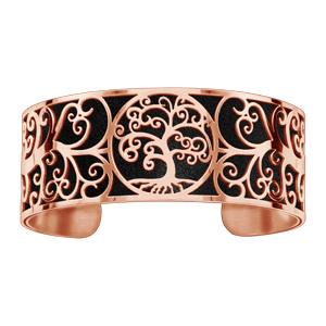 Bracelet acier et PVD rose motif arbre de vie pu simili cuir noir - Vue 1