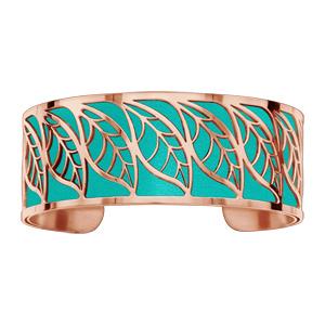 Bracelet acier et PVD rose motif feuille pu simili cuir turquoise - Vue 1
