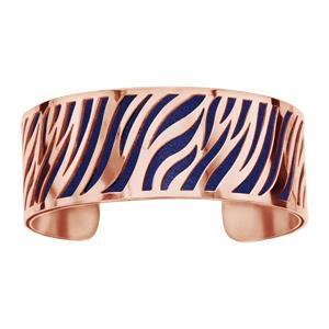 Bracelet acier et PVD rose motif zebre pu simili cuir marine - Vue 1