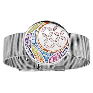 Bracelet acier Stella Mia en acier maille milanaise motif fleur couleur pastel avec nacre 19,5cm réglable - Vue 1