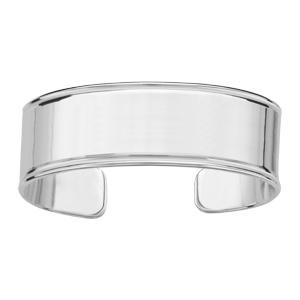 Bracelet argent passivé massif plat avec godrons largeur 20mm - Vue 1