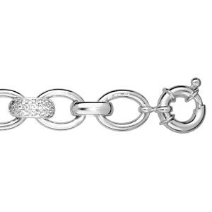 Bracelet argent rhodié fermoir boue pierres blanches 21cm - Vue 1