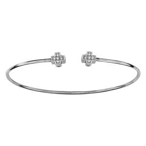 Bracelet argent rhodié jonc double croix oxydes blancs