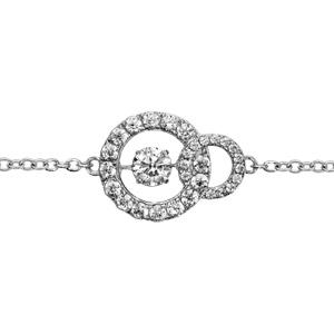 Bracelet Dancing Stone en argent rhodié chaîne avec 2 anneaux ornés d\'oxydes blancs sertis au milieu - longueur 15cm + 3cm de rallonge - Vue 1