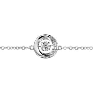 b85ba6a88de78 ... Bracelet Dancing Stone en argent rhodié chaîne avec rond orné d oxydes  blancs au milieu