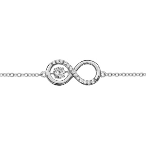 Bracelet Dancing Stone en argent rhodié chaîne avec symbole infini orné d'oxydes blancs au milieu - longueur 15cm + 3cm de rallonge