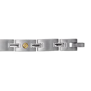 Bracelet en acier alternance de courts maillons lisses et ornés d'1 vis en or - longueur 21cm réglable