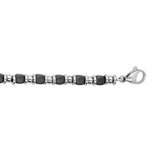 Bracelet en acier alternance de cubes gris et boules grises - Vue 1