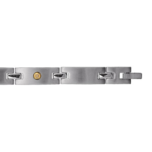 Bracelet en acier alternance de longs maillons lisses et ornés d'1 vis en or - longueur 19cm réglable