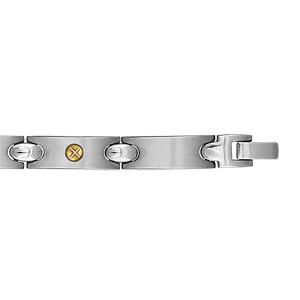 Bracelet en acier alternance de longs maillons lisses et ornés d'1 vis en or - longueur 21,5cm réglable
