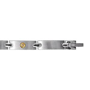 Bracelet en acier alternance de longs maillons lisses et ornés d'1 vis en or - longueur 21cm ajustable
