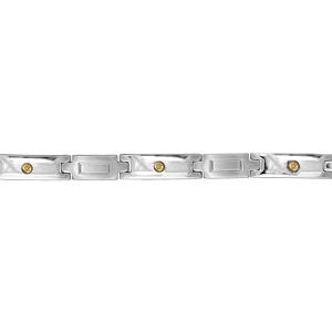 Bracelet en acier alternance de maillons en forme de croix avec gravure rectangle au milieu et maillons ornés d'1 vis en or - longueur 20cm réglable