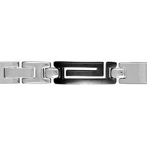 Bracelet en acier alternance de maillons lisses et de maillons en PVD noir découpés en méandre grec - longueur 20cm + 1,5cm réglable par double fermoir - Vue 1