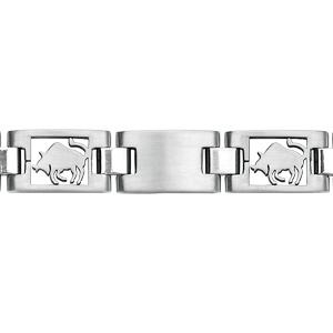 Bracelet en acier alternance de maillons lisses et maillons avec zodiaque du Taureau découpé - longueur 20,5cm réglable - Vue 1
