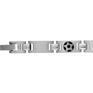 Bracelet en acier alternance de maillons lisses et maillons ornés d\'un ballon de foot en résine noire - 21cm - Vue 1