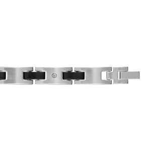 Bracelet en acier alternance de maillons lisses, maillons ornés d\'1 vis et barrettes en résine noire - longueur 21cm réglable - Vue 1
