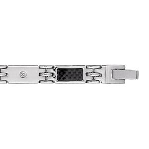 Bracelet en acier alternance de maillons ornés d\'1 vis et de maillons avec carbone motif quadrillé - longueur 21cm réglable - Vue 1