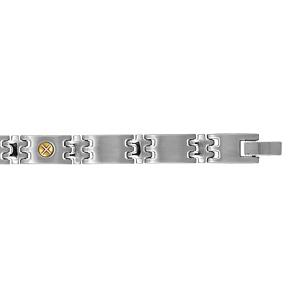 Bracelet en acier alternances de maillons aux jointures en zig-zag lisses et ornés de 3 vis en or - longueur 21cm ajustable