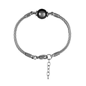Bracelet en acier câble avec 1 boule en céramique noire au milieu - longueur 18cm + 2cm de rallonge - Vue 1