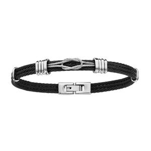 99c235c9f38 ... Bracelet en acier 3 câbles noirs avec éléments gris lisses pour les  retenir et petit noeud