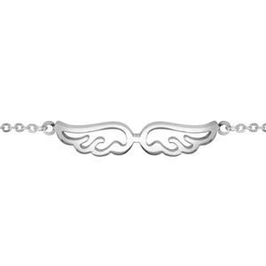 Bracelet en acier chaîne avec 2 ailes d'ange ajourées au milieu - longueur 16,5cm + 3,5cm de rallonge