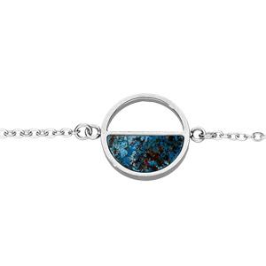 Bracelet en acier chaîne avec cercle Chrysocolla véritable 15,5+3,5cm - Vue 1