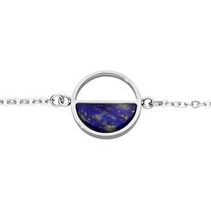 Bracelet en acier chaîne avec cercle et pierre lapis lazuli véritable - 16+3cm - Vue 1