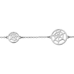 Bracelet en acier chaîne avec 3 toiles d\'araignée - longueur 16cm + 4cm de rallonge - Vue 1