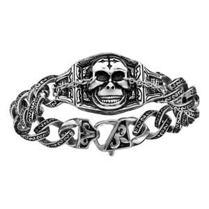 Bracelet en acier chaîne ouvragée avec 1 tête de mort au milieu - longueur 21,5cm - Vue 1