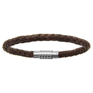 Bracelet en acier charms fermoir aimanté et vis cuir marron 21 cm