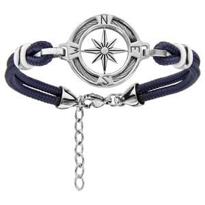 Bracelet en acier cordon bleu marine doublé avec rose des vents au milieu d\'un anneau orné d\'1 câble - longueur 19cm + 3cm de rallonge - Vue 1