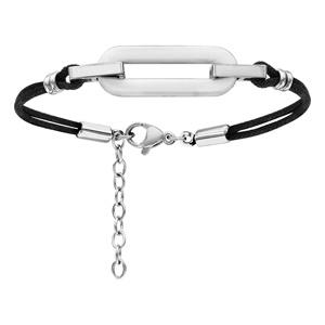 7ea3ea85e5011 ... Bracelet en acier cordon doublé en coton noir avec anneau rectangulaire  arrondi en céramique blanche au