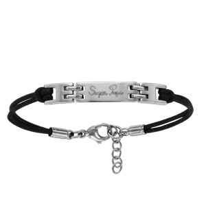 4353840a8254 Bracelet en acier cordon doublé noir avec plaque identité gravée