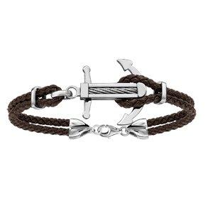 Bracelet en acier cordon en cuir marron doublé avec ancre marine ornée d\'un câble gris au milieu - longueur 19cm + 3cm de rallonge - Vue 1