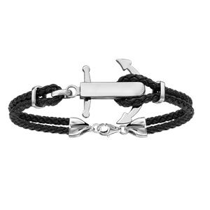 Bracelet en acier cordon en cuir noir doublé avec ancre marine à graver au milieu - longueur 19cm + 3cm de rallonge - Vue 1
