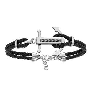 Bracelet en acier cordon en cuir noir doublé avec ancre marine ornée d\'un câble gris au milieu - longueur 19cm + 3cm de rallonge - Vue 1