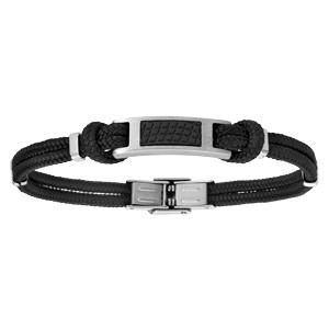 Bracelet en acier cordon noir en coton avec effet cuir sur le dessus réglable 21cm - Vue 1