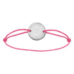 Bracelet en acier cordon rose coulissant avec plaque ronde au milieu - Vue 1