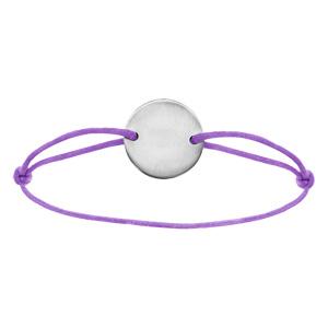 Bracelet en acier cordon violet coulissant avec plaque ronde au milieu - Vue 1