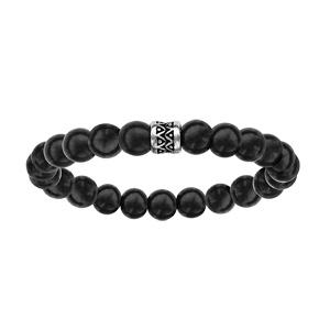 Bracelet en acier élastique perles en bois noir motif patiné - Vue 1